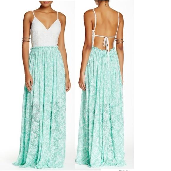 417dbe83a595 Soieblu Dresses | Crochet Bodice Lace Maxi Dress Spearmint | Poshmark